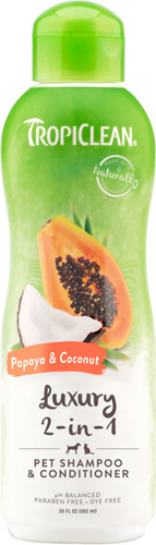 TropiClean Luxury 2 in 1 Papaya & Coconut Pet Shampoo and Conditioner