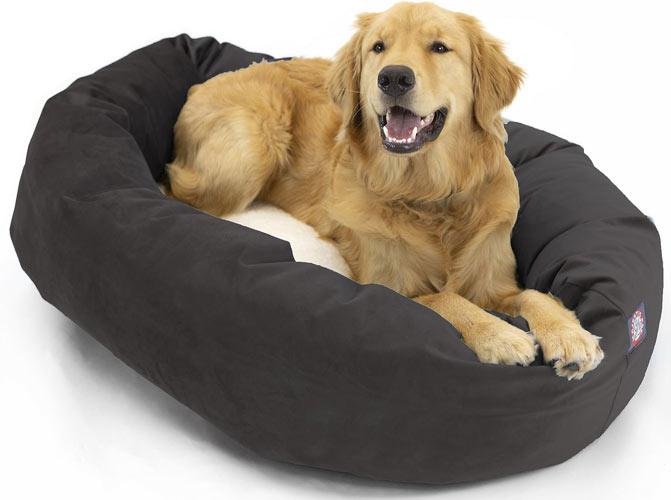 Majestic Pet Velvet Sherpa Bagel Bolster Dog Bed